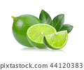 lime with leaf on white background 44120383