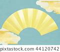 일본 - 일본식 디자인 - 일본식 - 배경 - 종이 - 블루 - 금 - 부채 44120742