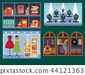 Vector shops facade window illustration. 44121363
