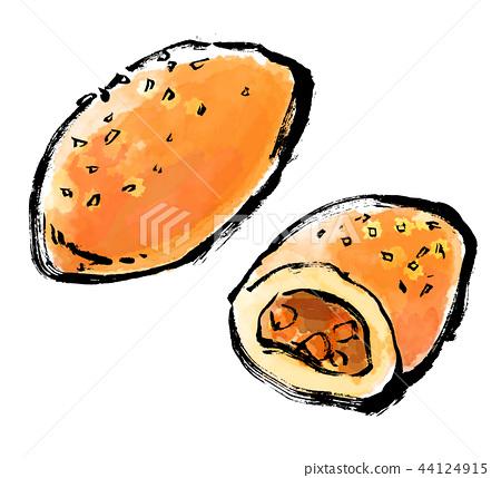 붓 그리기 빵 카레 빵 44124915