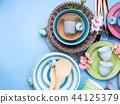 Tableware dish set on blue pastel background 44125379