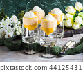 Lemon sorbet ice cream served dessert 44125431