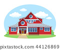 Red cartoon house exterior with blue clouded sky Front Home Architecture Concept Flat Design Style 44126869