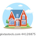 Red cartoon house exterior with blue clouded sky Front Home Architecture Concept Flat Design Style 44126875