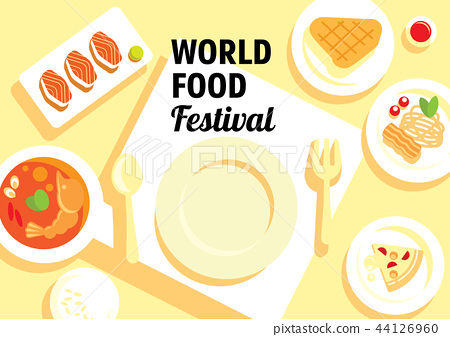 world food festival with many menu 44126960