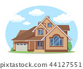 Cartoon house exterior with blue clouded sky Front Home Architecture Concept Flat Design Style 44127551