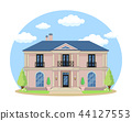 Cartoon house exterior with blue clouded sky Front Home Architecture Concept Flat Design Style 44127553