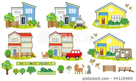 房子风景(鲜花和宠物) 44128969