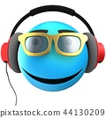 3d illustration of blue emoticon smile 44130209