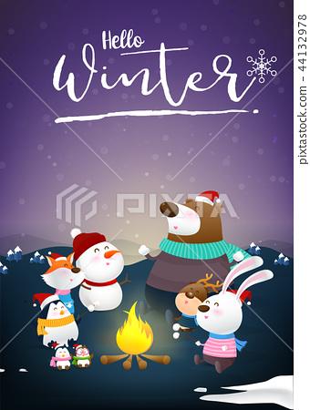 Hello winter with animal cartoon and night snow 44132978
