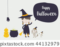 Cute witch cat spider and rat cartoon character 44132979