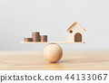 Wooden home and money coins stack on wood scale 44133067