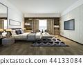 beautiful luxury bedroom suite in hotel with tv 44133084