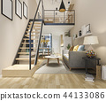 white wood living room near stair minimal style 44133086