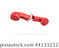 3d rendering of a red retro phone receiver broken in half on a white background. 44133232
