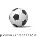 3d rendering of a single black and white leather ball for playing football or soccer. 44133236