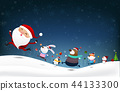 Christmas Snowman Santa claus and animal  44133300
