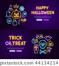 Halloween Neon Website Banners 44134214