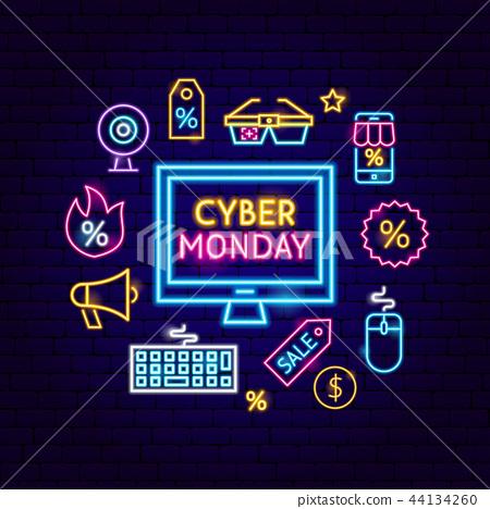 Cyber Monday Computer Neon Concept 44134260