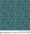 Sketch with ornament vintage forged keys isolated on gray background. Vector cartoon close-up 44134748