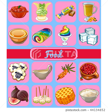 Set of delicious desserts and healthy food. Sketch for holiday sticker, card or party invitation 44134852