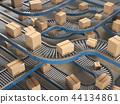 Cardboard boxes on conveyor in  warehouse 44134861
