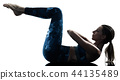 woman fitness pilates excercises silhouette  44135489