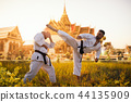Karate fighters, fight against ancient temple 44135909