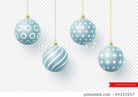 3d Christmas yellow balls with geometric pattern. Decorative elements for holiday new year design 44135937