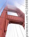Golden Gate Bridge tower in the fog 44136688