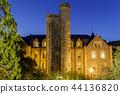 Montgomery Hall Castle-like at night 44136820