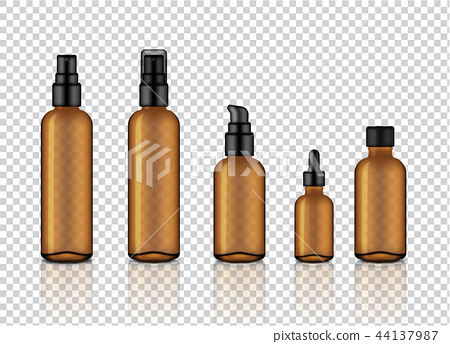 Mock up Realistic Amber Transparent Glass Bottle 44137987