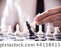Hand of confident businessman use king chess piece white playing 44138413