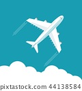 Plane fly on blue cloud sky background with blank area for your text 44138584