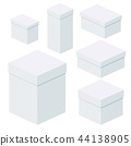 Isometric white boxes of different sizes for packaging, gifts, transportation 44138905