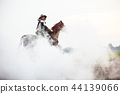 Asian Warrior in traditional armor on horse in fog 44139066