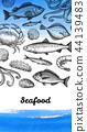 Seafood menu design template. 44139483