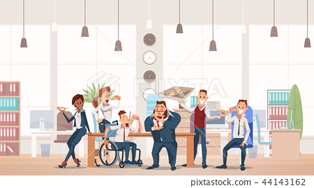 Lunch Time at Office. Vector Illustration. 44143162
