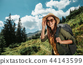 woman, backpack, forest 44143599