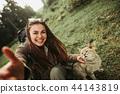 woman, selfie, cat 44143819