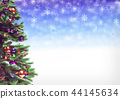 Decorated christmas tree on bokeh background. 3D illustration 44145634
