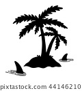 Shark fin vector icon palm tree island coconut  44146210