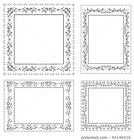 vector set of ornate black picture frames isolated 44146416
