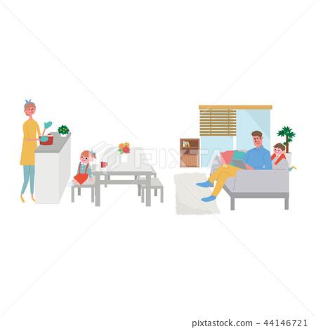 가족 생활 라이프 스타일 일러스트 44146721