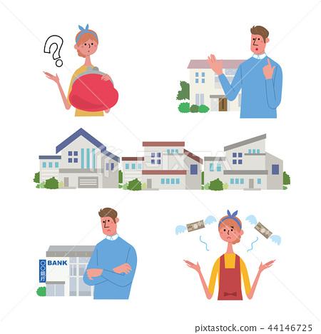 집 구입 부부 일러스트 세트 44146725