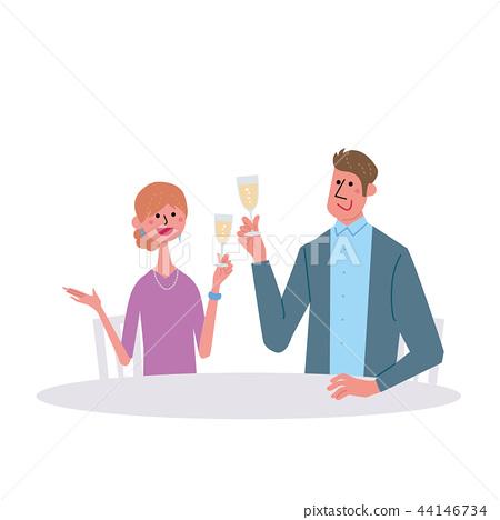 男人和女人用香檳敬酒 44146734