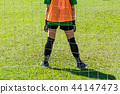 Back view of a young female goalie stands at goal 44147473