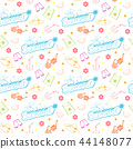 doodle summer beach pattern seamless vector 44148077