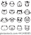 set of doodle drawing outline animal face vector 44148085