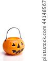 plastic jack-o-lantern on white 44148567